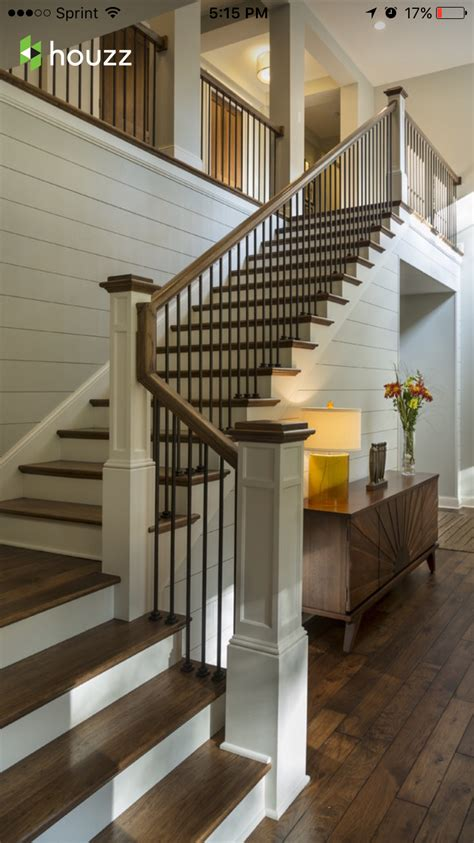 wooden railing and metal spindle clean look home