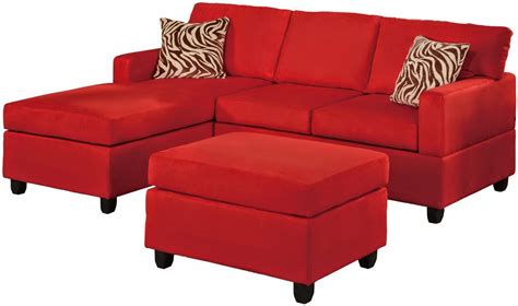 furniture contemporary red vinyl chaise sofa with tufted