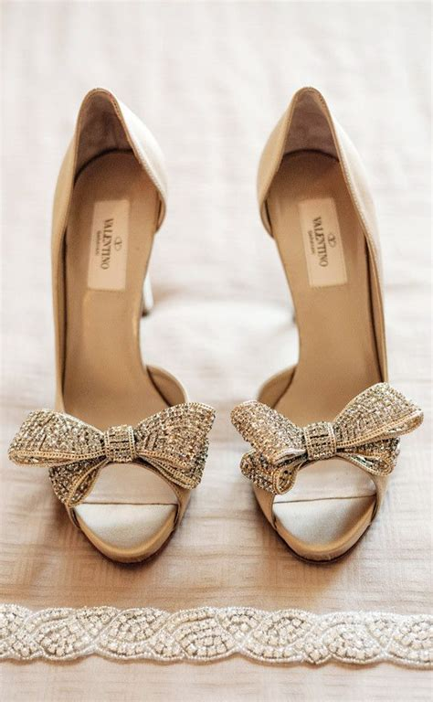 valentino gold bow tie peep toe bridal shoes wedding - Wedding Shoes Valentino
