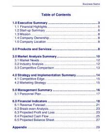 business plan document template business plan template master plans doc