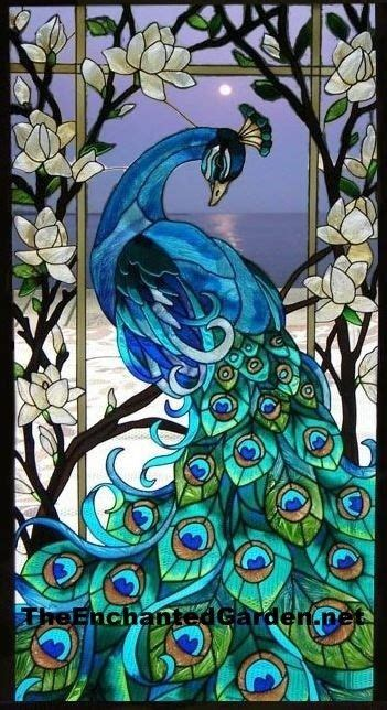 magnificent peacock 17x37 stained glass window panel ebay