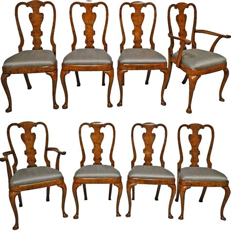 Antique Burled Elm Dining Chairs Set Of 8 From Elm Dining Chairs