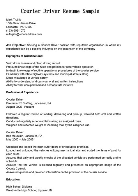 cdl driver resume sle resume for driver personal profit and loss statement