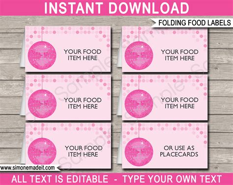 disco party food labels place cards disco theme