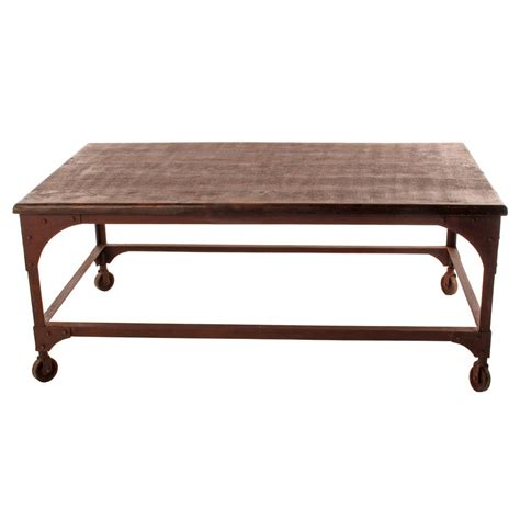 Industrial Rustic Coffee Table Lyman Industrial Rustic Caster Coffee Table Kathy Kuo Home