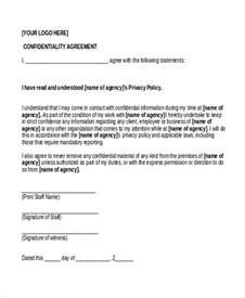 sample confidentiality agreement form 9 free documents