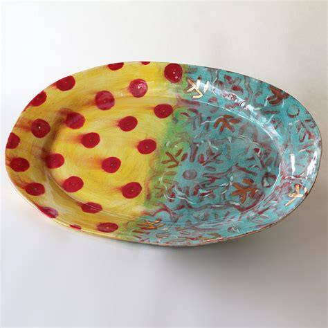 Ceramic Platters Handmade - 11 x 17 inch handmade ceramic serving platter in by happyclay