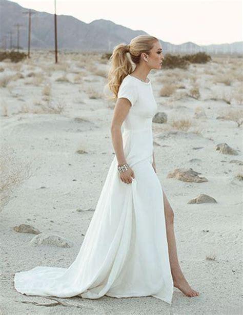 2017 elegant casual beach wedding dress short sleeve