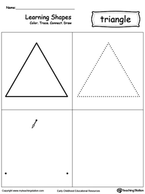 triangle printable worksheets for preschoolers learning shapes color trace connect and draw a