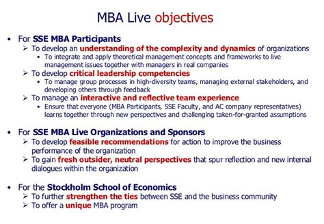Mba Learning Objectives by Sse Mba Mba Live