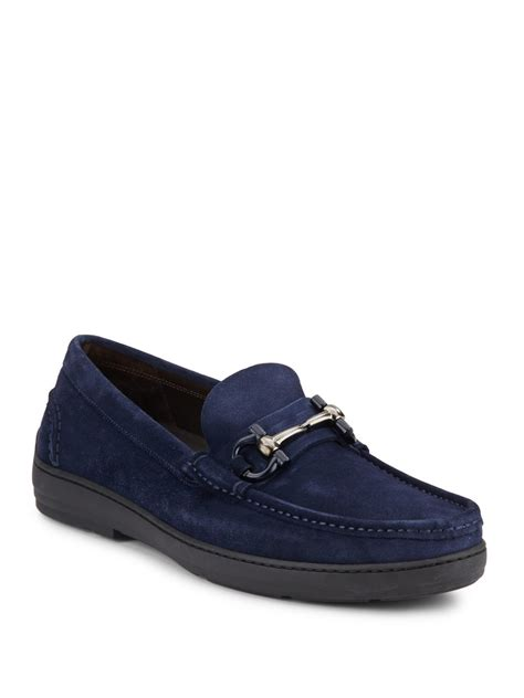 suede loafers ferragamo suede loafers in blue lyst