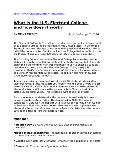 Electoral College Worksheet by Worksheet What Is The U S Electoral College And