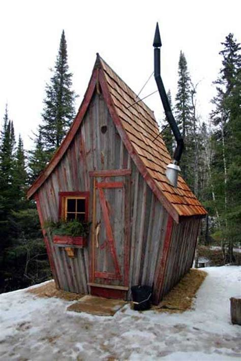 rustic  whimsical huts built  reclaimed wood