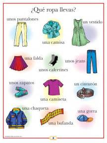 spanish clothing poster spanish worksheets and learn