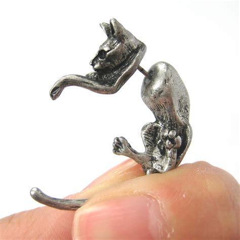 cat animal pet 3d stud earrings in silver
