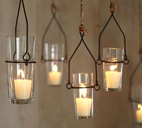 Hanging Votive Candle Holders Wire Glass Hanging Votive Holder Pottery Barn