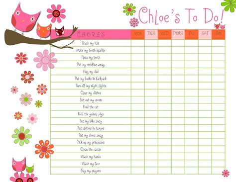 28 free printable chore chart templates 5 best