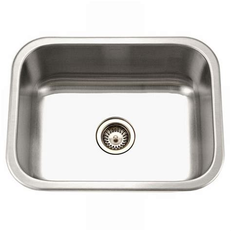 stainless steel single bowl kitchen sinks houzer medallion series undermount stainless steel 23 in single bowl kitchen sink ms 2309 1