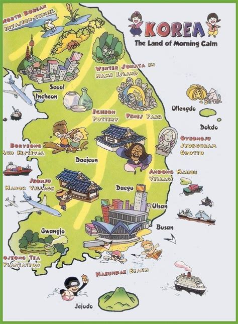 map of korea south korea attraction map korea attractions map