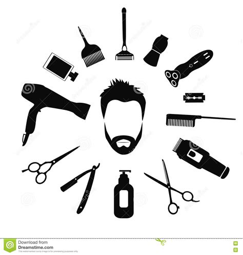 Hairstyles Tools Vector by Barber Tools And Haircut Icons Set Vector Illustration