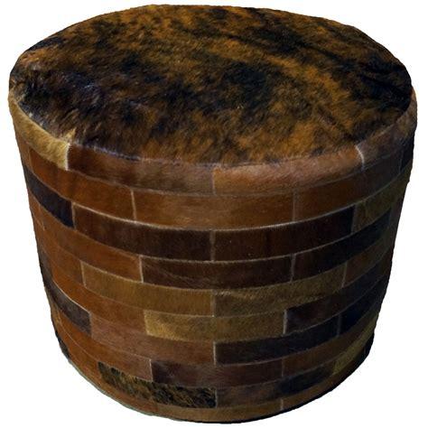 brown round ottoman dark brown round cowhide ottoman 24 inch
