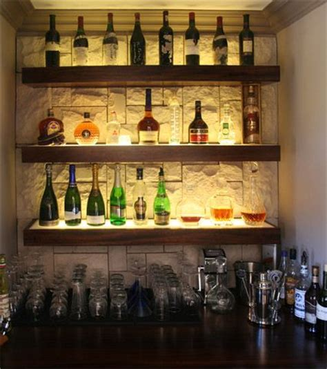 cool liquor display with wall background bar