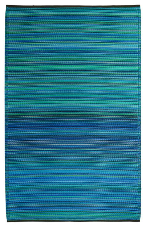 Blue And Green Outdoor Rug Fab Habitat Cancun Indoor Outdoor Rug In Turquoise Blue Moss Green Stripe 1 2m Coastal