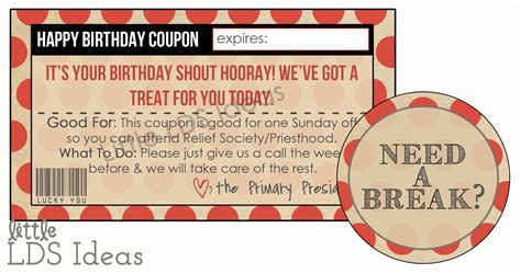 coupon ideas lds primary birthday coupon from lds ideas