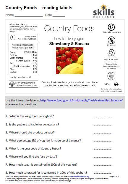 Food Label Worksheet by Country Foods Understanding Food Labels Skills Workshop