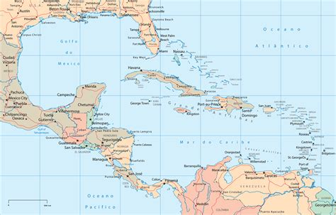 central america the caribbean map central america and the caribbean political map size