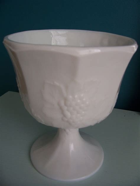 grape leaf pattern milk glass large grape pattern milk glass compote by myvintageshop on