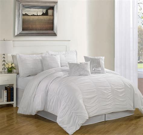 White Bedding Sets 7 Hermosa Ruffled Comforter Set White Ebay