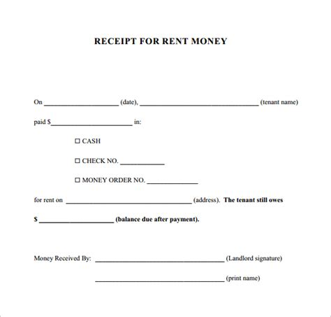 money rent receipt template 30 money receipt templates doc pdf free premium