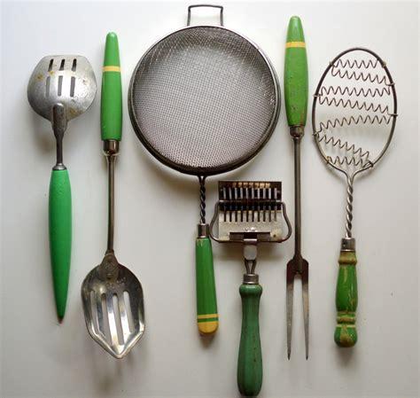vintage kitchen utensils green wood handles sieve slotted