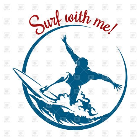 silhouette of surfer on wave emblem design royalty free