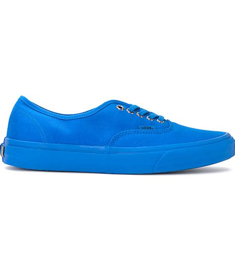 Vans Authentic Primary Mono Imperal Blue vans authentic mono imperial blue canvas skate shoes zumiez