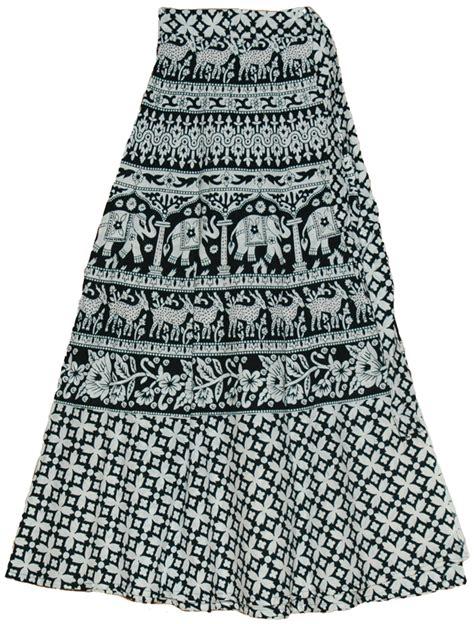 black and white clothing pattern patterns animal print long wrap skirt in black white