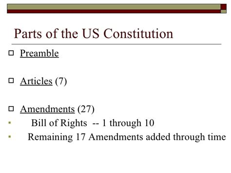 what are the three sections of the constitution chapter 3 principles and goals of us