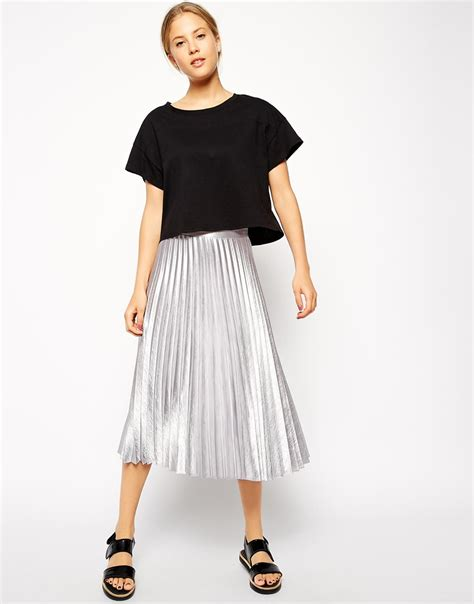 silver pleated skirt redskirtz