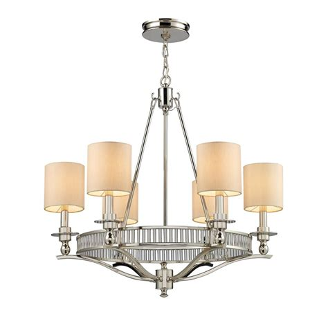 Polished Nickel Chandeliers Titan Lighting Pembroke 6 Light Polished Nickel Ceiling Mount Chandelier Tn 6392 The Home Depot
