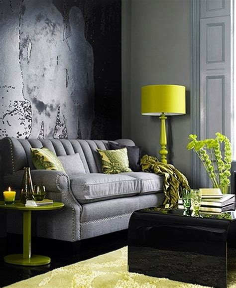 grey and chartreuse living room decorating with chartreuse