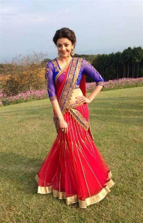 actress kajal in bad dress in saree breast beautiful kajal agarwal for more www foundpix com