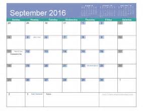 2016 Calendar Template by 2016 September Calendar Printable And Template