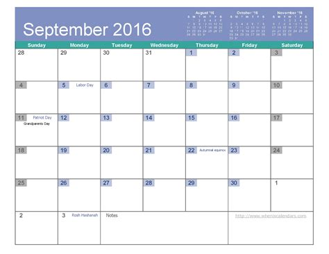 Calendar Templates 2016 2016 September Calendar Printable And Template