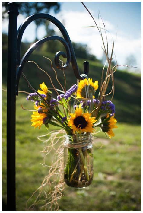 throneburg aisle decor mountain wedding sunflower