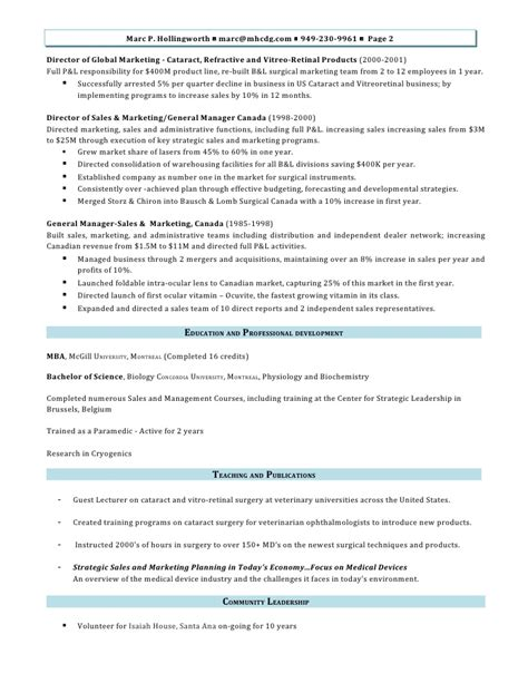 Director Of Sales And Marketing by Marc Hollingworth Director Of Sales And Marketing Resume M