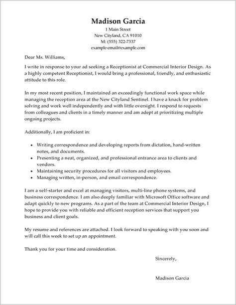 letter template for sle cover letter for resume for receptionist cover 1441