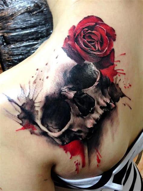 tattoo totenkopf mit rose tattoo vorlagen bilder