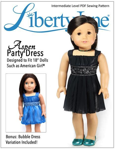 Aspen Party Dress 18 Inch Doll Clothes Pattern Pdf Download Pixie Faire American Doll Clothes Templates