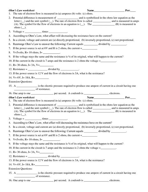 Ohm S Worksheet Key 19 best images of which worksheet answers gas laws